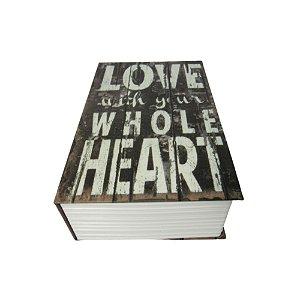 Livro cofre em madeira P Love