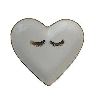 Prato Porta Anéis Coração Olhos