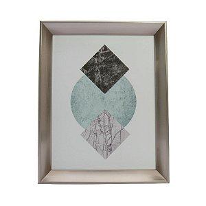 Quadro Decorativo Moldura Prata Desenho Abstrato