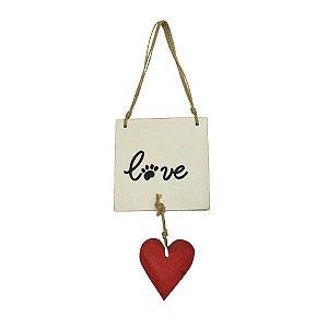 """Placa """"Love"""" Pata de Cachorro com coração 3803"""