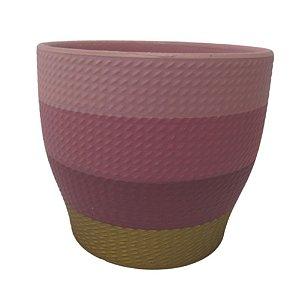 Vaso de Cerâmica dec02225/6 azul/rosa G