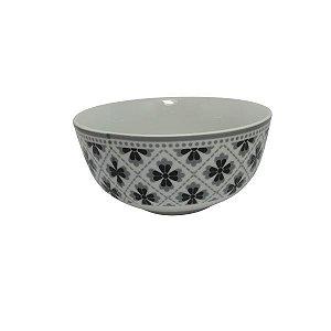 Bowl em Cerâmica Branco com Desenho flor Preta