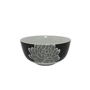 Bowl em Cerâmica Branco/Preto com Desenho Flor Branca  M  cod 043