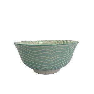 Bowl em Cerâmica Desenho Listras Turquesa M 16X7