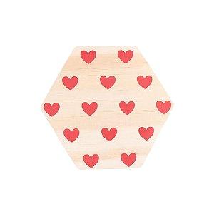 Tábua mini hexágono Corações Vermelho