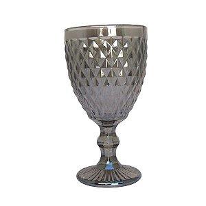 Jogo de Copos de Água com Pé  c/ 6 - Bico de Abacaxi - Fumê Espelhado