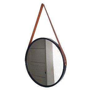 Espelho Adnet Preto c/ Alça Marrom 60cm diâmetro