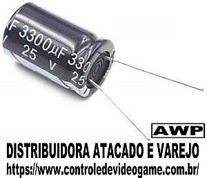 Kit 10 Capacitor Eletrolitico 25v 3300uf Fonte Arduino Projeto atacado revenda