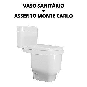 Kit Vaso Sanitário Modelo Karoll + Assento Monte Carlo de Plástico + Frete Grátis