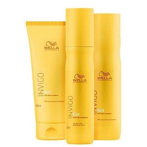 Kit Wella Invigo Sun Shampoo + Condic. + Máscara + Leave-in