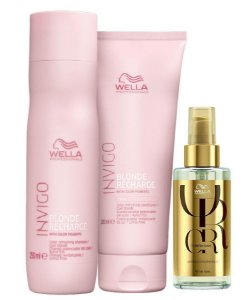 Kit Wella Invigo Blonde Recharge Sh 250ml + Cond 200ml + Óleo Reflections 100ml