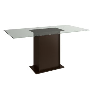 Mesa de Jantar cor Tabaco com Tampo de Vidro - HB118
