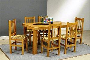 Conjunto Mesa Padrão cor Cerejeira com Tampo Sumauma com 4 ou 6 cadeiras - HB153c