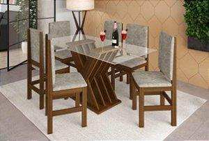 Conjunto Mesa de Jantar com Tampo de Vidro e 6 Cadeiras cor Canela - HB114C
