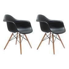 Kit com 2 unidades da Cadeira / Poltrona Charles Eames Eiffel com Braço - Base em madeira