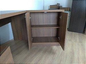 Mesa em L com 2 gavetas e armário embutido - Em MDF - TreeMobili