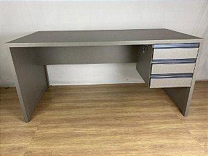 Mesa de escritório Lino Piombo 160x80x80 com 3 gavetas | em MDF | TreeMobili