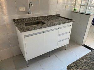 Balcão de Cozinha 125x85x55 com 3 Gavetas e 2 Portas - em MDF - TreeMobili