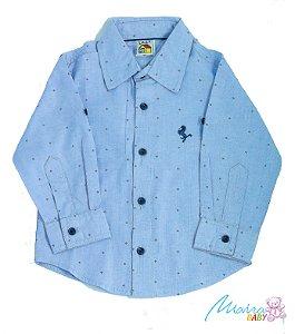 Camisa social estampada azul