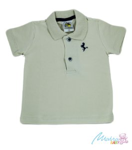 Camisa Polo Cotton Lisa bege Infantil