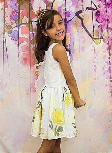 Vestido Estampa Rosas Amarelas