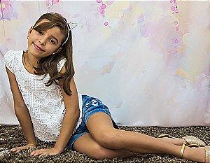 Conjunto Blusa Em Renda Com Shorts Jeans