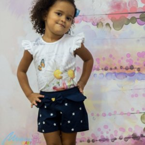 Conjunto Blusa Com Shorts Bordado Margarida