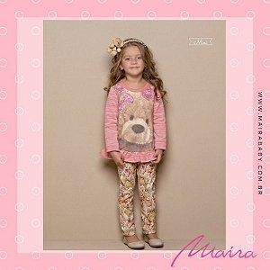 Conjunto Blusa Com Calça Em Veludo Família Urso
