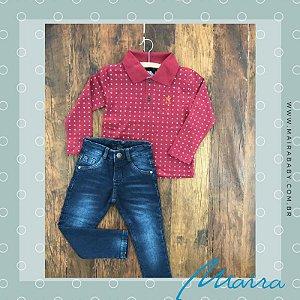 Conjunto Blusa Polo Manga e Calça Jeans