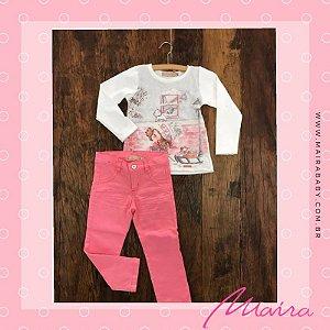 Conjunto Blusa Manga e Calça Rosa