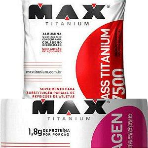 MASSA MAX TITANIUM 3KG CHOCOLATE + COLAGENO MAX TITANIUM 100 CAPSULAS