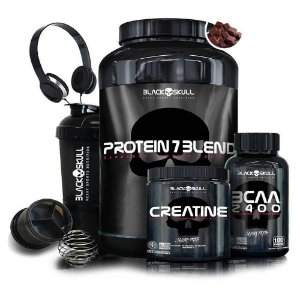 Kit Black Skull - Whey + Creatina + BCAA