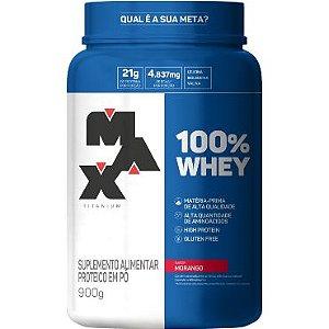 100% Whey 900g - Max Titanium - Morango