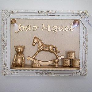 Quadro Porta Maternidade Hispânico Cenário LED Dourado