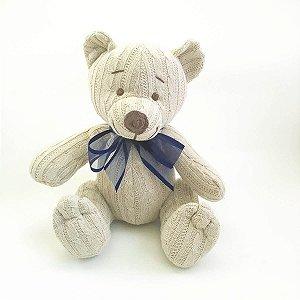 Urso Tricot Teddy Bege Laço Azul