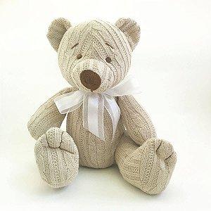 Urso Tricot Teddy Bege Laço Branco