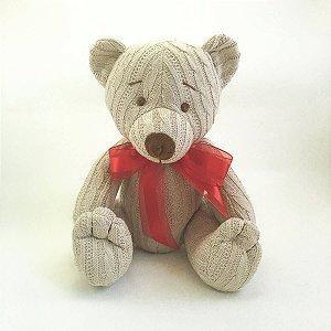 Urso Tricot Teddy Bege Laço Vermelho