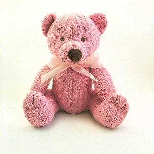 Urso Tricot Teddy Rosa