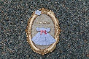 Quadro Porta Maternidade Vestidinho Princesa Branco