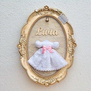 Quadro Porta Maternidade Vestidinho Princesa Branco com LED
