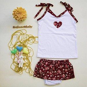 Camiseta com calcinha saia coração Déa