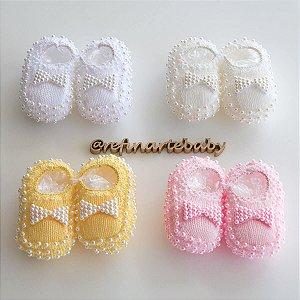 Sapatinhos de Bebê em Tricô Perolado com Lacinho