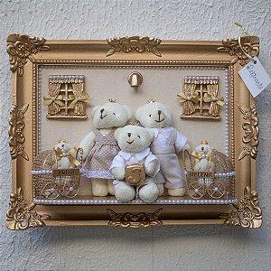 Quadro Porta Maternidade Cenário LED Família Gêmeas
