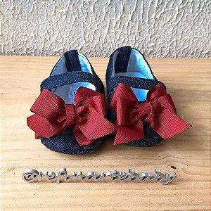 Sandália Jeans com laço vermelho