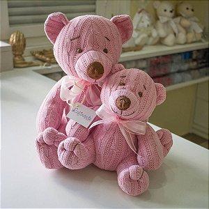 Urso Tricot Teddy rosa Tamanho Pequeno