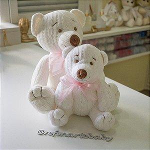 Urso Tricot Teddy Off White com Laço Rosa G
