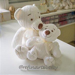 Urso Tricot Teddy Off White com Laço Amarelo G