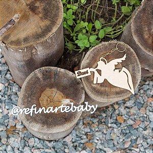 Chaveiro Lembrancinha de Maternidade Personalizado Anjinho Anunciando Nascimento