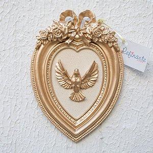 Quadro Decorativo para Bebê Coração com Laço Divino Espírito Santo