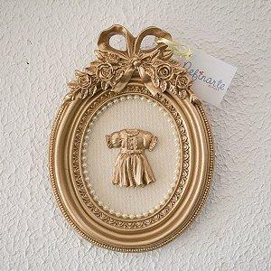Quadro Decorativo para Bebê Redondo com Laço Vestidinho